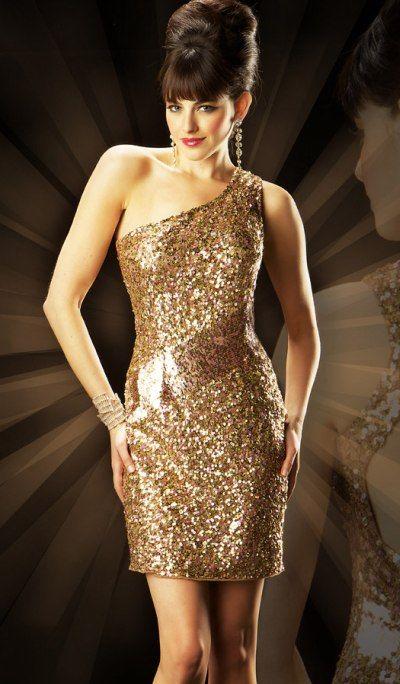 Gold Sequin Off Shoulder Cocktail Dress Pictures Photos