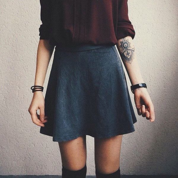 Skater Skirt With Button Up Blouse And Knee High Socks