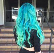 neon blue teal hair