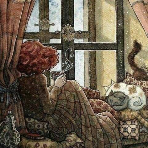 cozy winter tea illustration