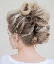 honey blonde braided updo