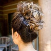pinned blonde braided updo