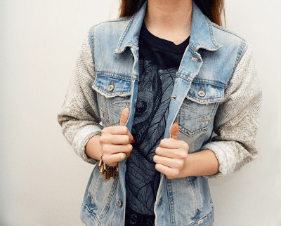 sweater sleeved denim jacket