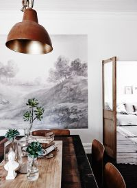 Rustic Industrial Dining Room With Wall Mural Pictures ...