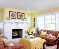 Sunny Yellow Cottage Style Living Room Pictures, Photos ...
