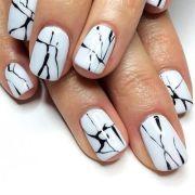 black & white marble nails