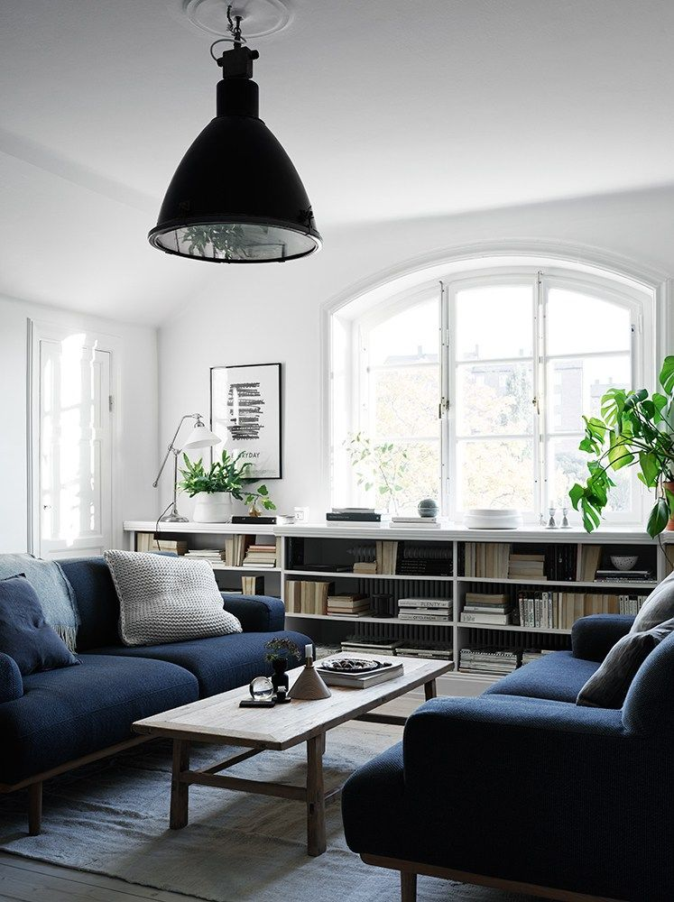 White Living Room With Navy Blue Couch Pictures Photos