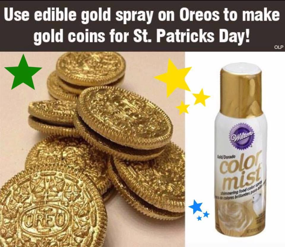 Use Edible Gold To Spray On Oreos To Make Gold Coins On St