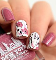 detailed pretty pink floral nails