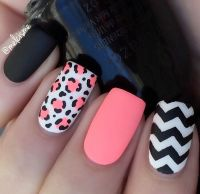Pink, Black And White Spring Nail Art Design Pictures