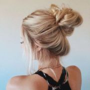 blonde messy bun