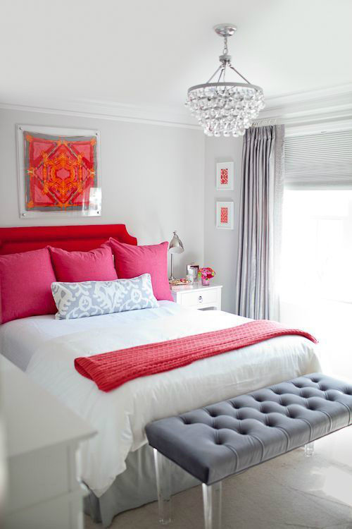 Romantic Red Pink And Gray Bedroom Color Scheme Pictures