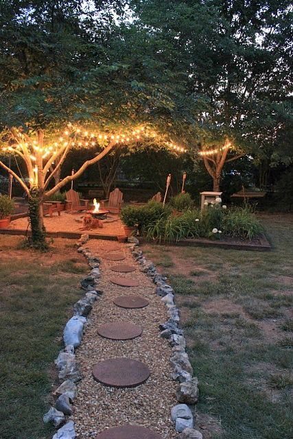 Lights In Trees Surrounding Firepit Pictures Photos and