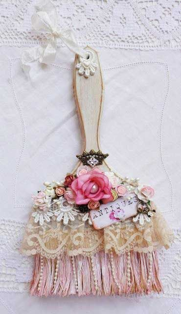 Lovely DIY Shabby Chic Embellished Paint Brush Pictures