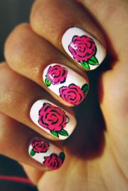 white and pink rose nails