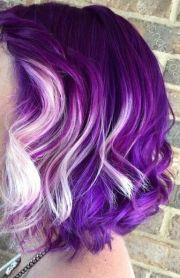 purple and white hair