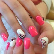 pink and white acrylic leopard