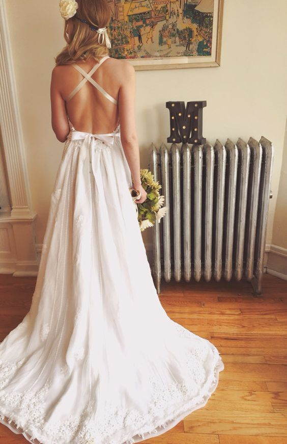 Backless Bohemian Wedding Dress Pictures Photos and