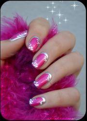 hot pink and silver nail art