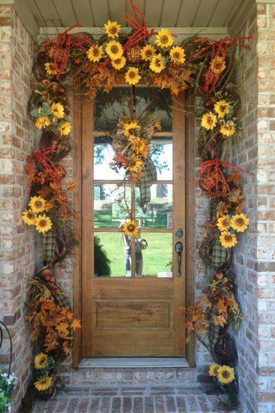 Cute Rustic Fall Wallpapers Sunflower Garland For Front Door Autumn Deco Pictures
