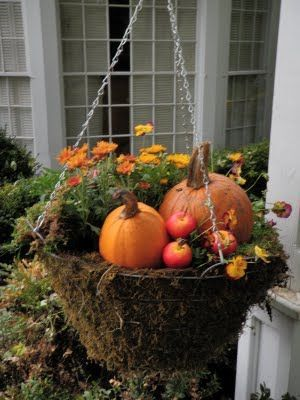 Fall Flowers & Mini Pumpkin Hanging Basket Pictures