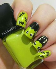 green frankenstein nail art
