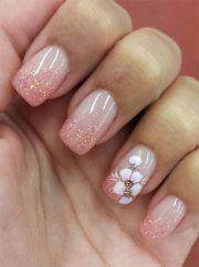 glitter pink nails & flower