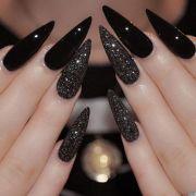 black glitter stiletto nails