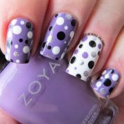 polka dot purple nail art