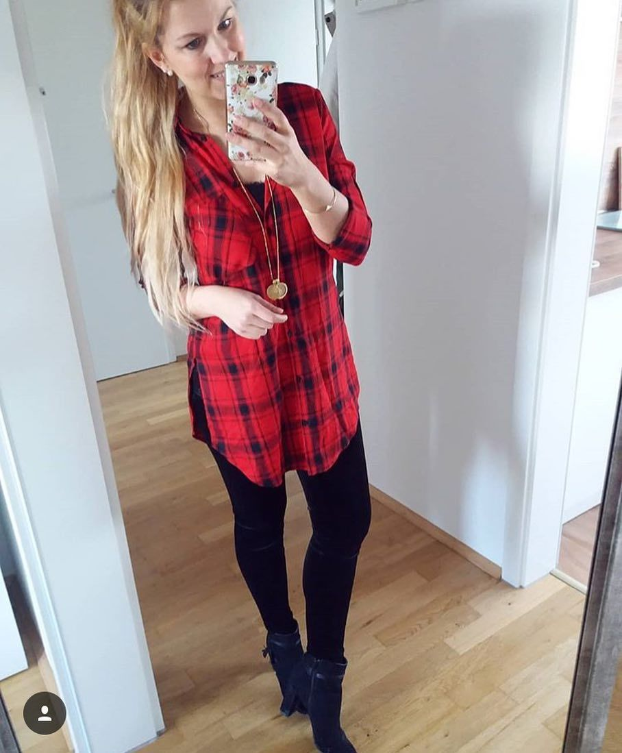 Red Flannel Shirt With Black Leggings Pictures Photos