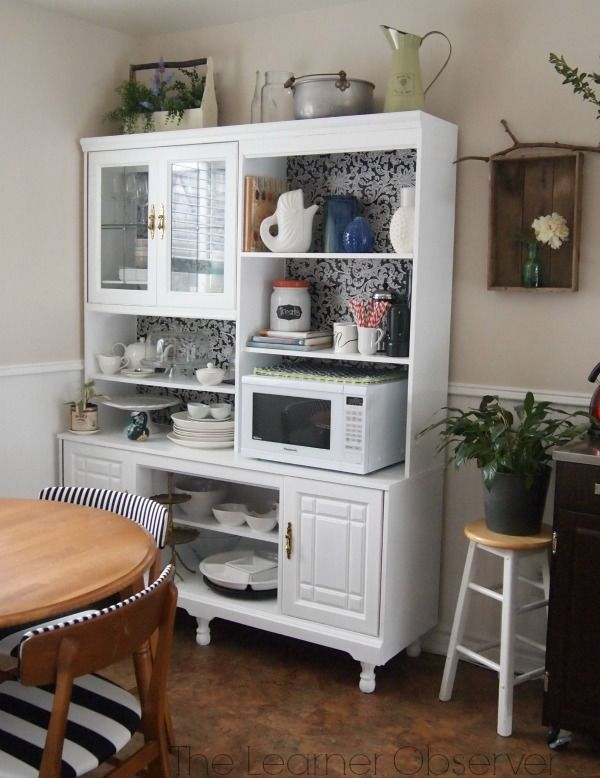 Entertainment Center Upcycled Into A Kitchen Hutch