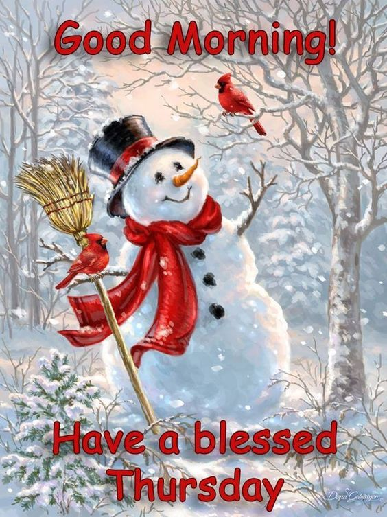 Happy Snowman Good Morning Blessed Thursday Image Pictures