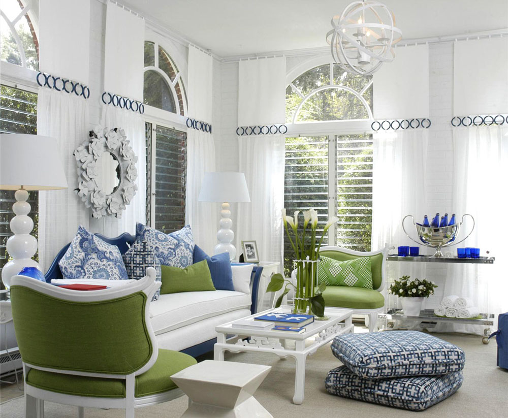 White Living Room With Blue, Green Accents Pictures