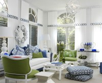 White Living Room With Blue, Green Accents Pictures ...