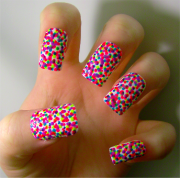 rainbow polka dot nails