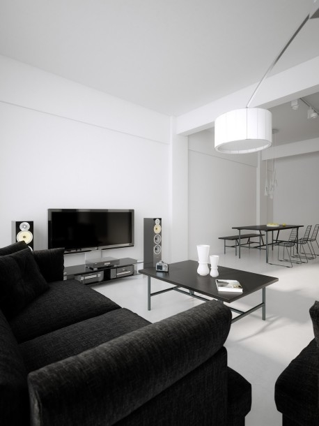 Black Sofa In All White Living Room Pictures, Photos, and