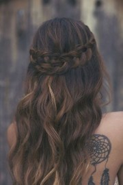 long wavy hair and braid