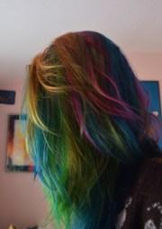 rainbow dark hair