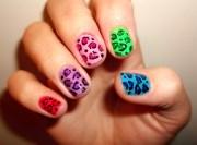 leopard colorful nails