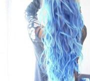long blue wavy hair