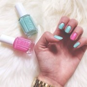 essie pink and blue nails