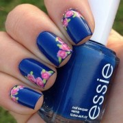 cute blue floral nails