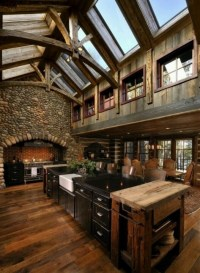 Rustic Kitchen With Vaulted Ceiling Beams Pictures, Photos ...