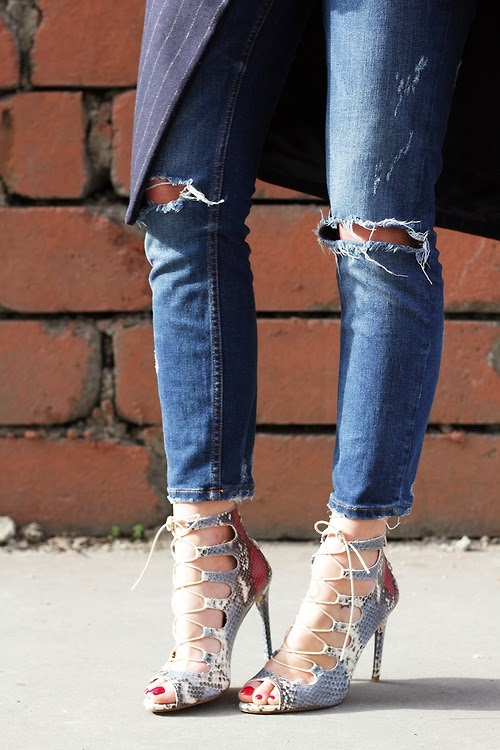 Ripped Jeans And High Heels Pictures Photos and Images