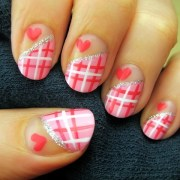pink plaid nail art