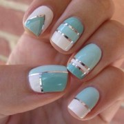 white and teal nails