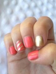 hot coral nail art design