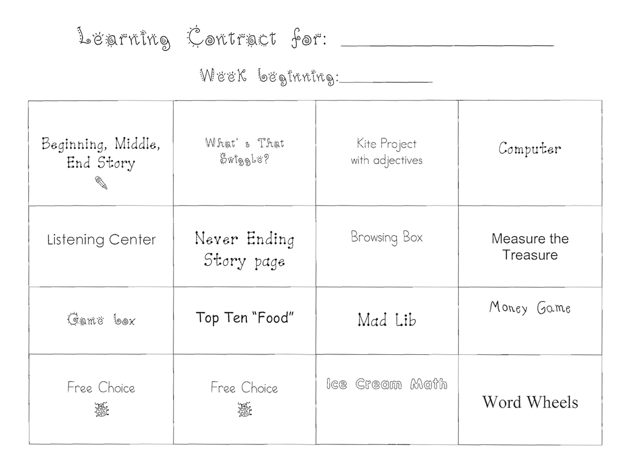 Learning Centers Tracking Sheets