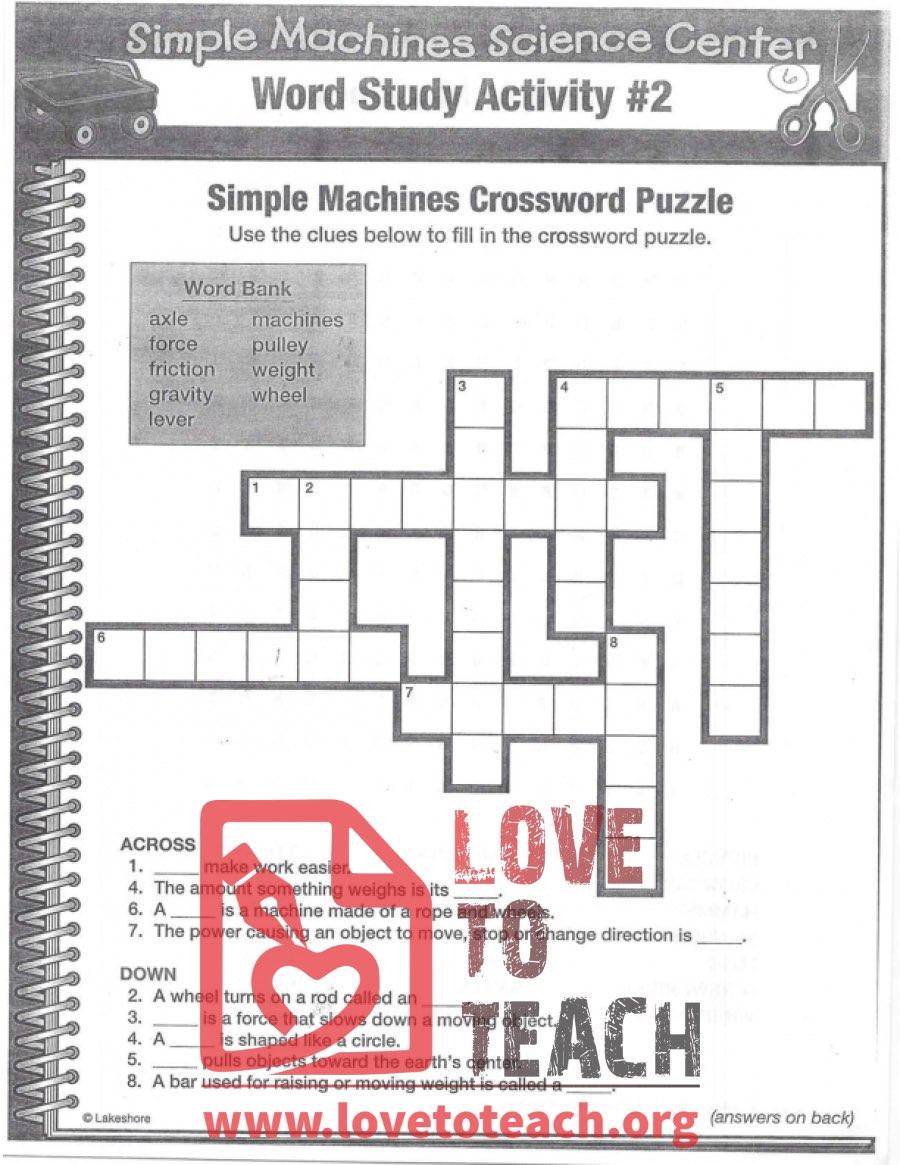 medium resolution of Simple Machines Crossword Puzzle   LoveToTeach.org