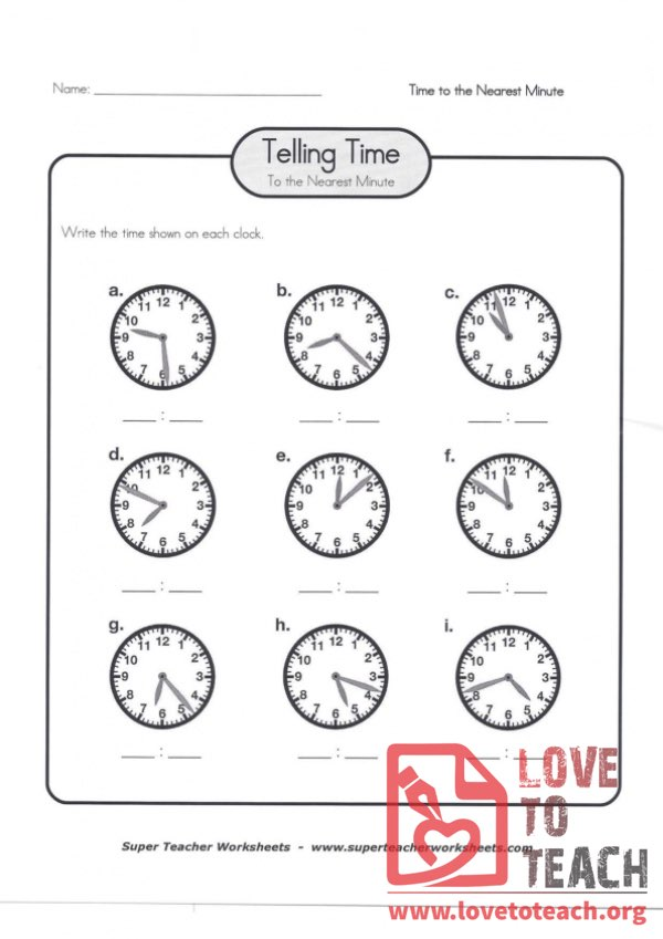 Telling Time to the Nearest Minute (A) (with Answer Key